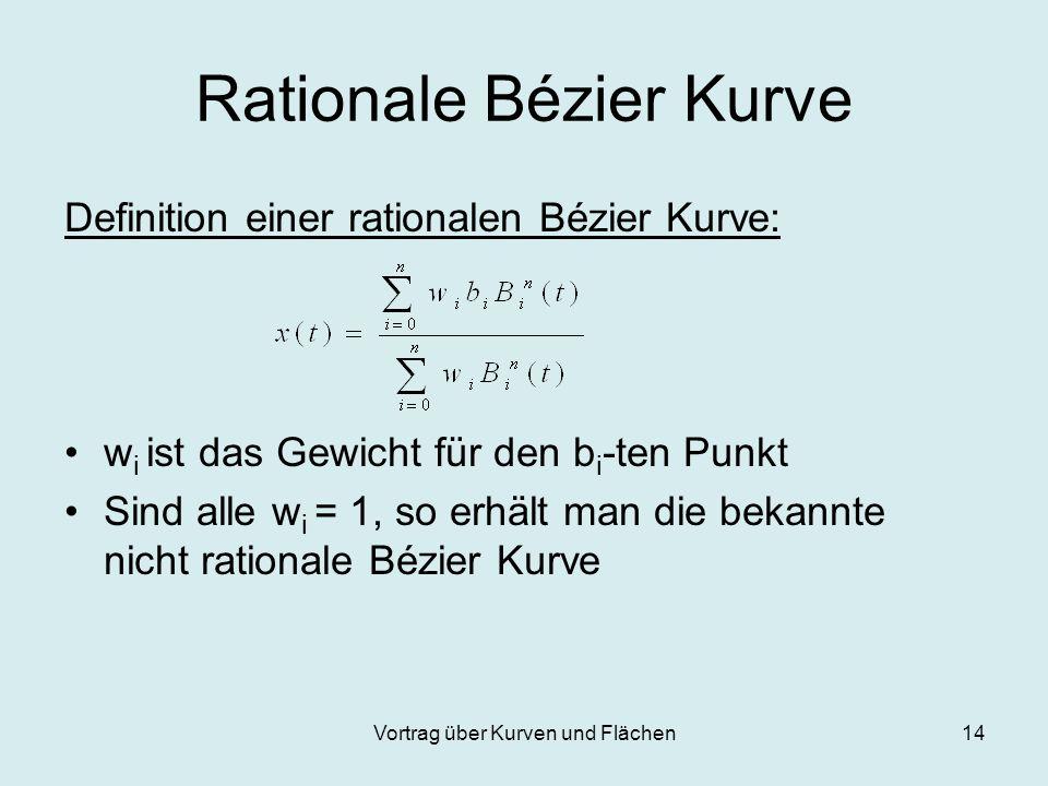 Vortrag über Kurven und Flächen14 Rationale Bézier Kurve Definition einer rationalen Bézier Kurve: w i ist das Gewicht für den b i -ten Punkt Sind all
