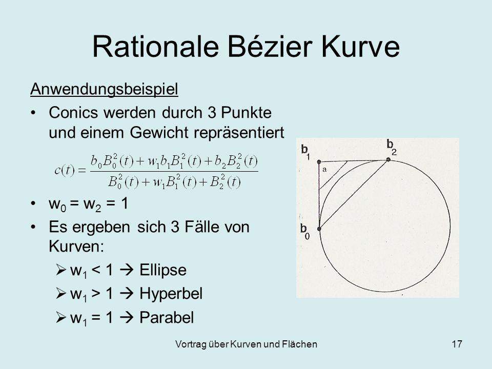 Vortrag über Kurven und Flächen17 Rationale Bézier Kurve Anwendungsbeispiel Conics werden durch 3 Punkte und einem Gewicht repräsentiert w 0 = w 2 = 1