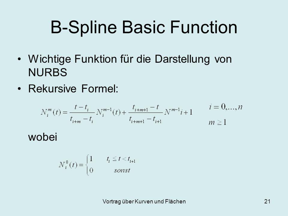 Vortrag über Kurven und Flächen21 B-Spline Basic Function Wichtige Funktion für die Darstellung von NURBS Rekursive Formel: wobei