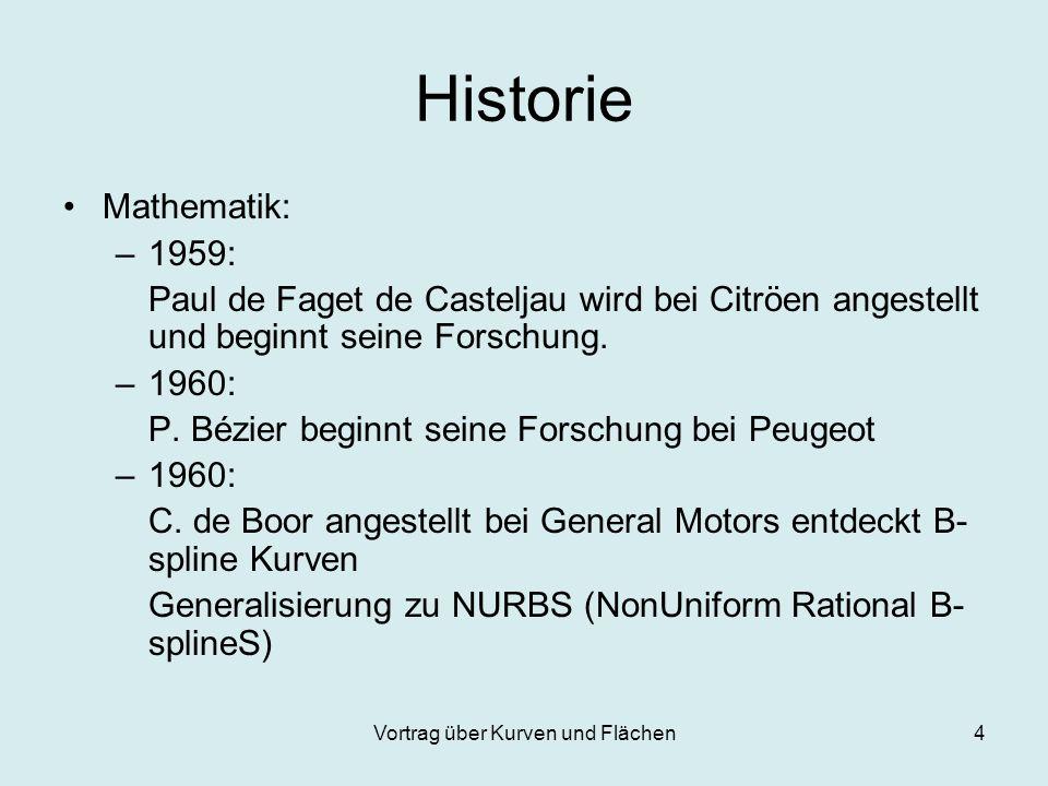Vortrag über Kurven und Flächen4 Historie Mathematik: –1959: Paul de Faget de Casteljau wird bei Citröen angestellt und beginnt seine Forschung. –1960
