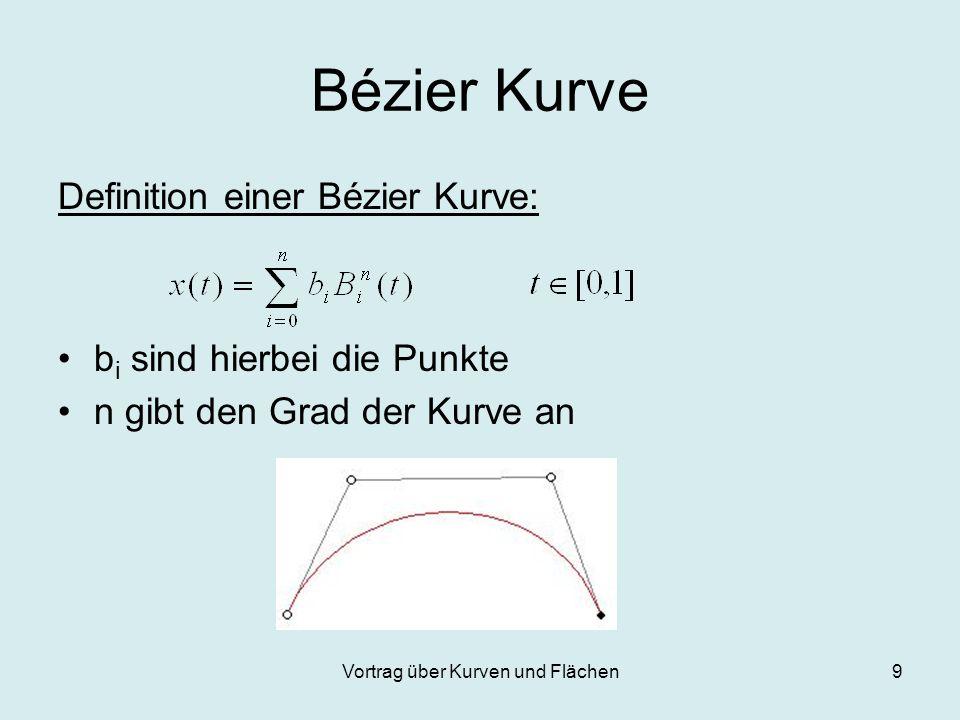Vortrag über Kurven und Flächen9 Bézier Kurve Definition einer Bézier Kurve: b i sind hierbei die Punkte n gibt den Grad der Kurve an
