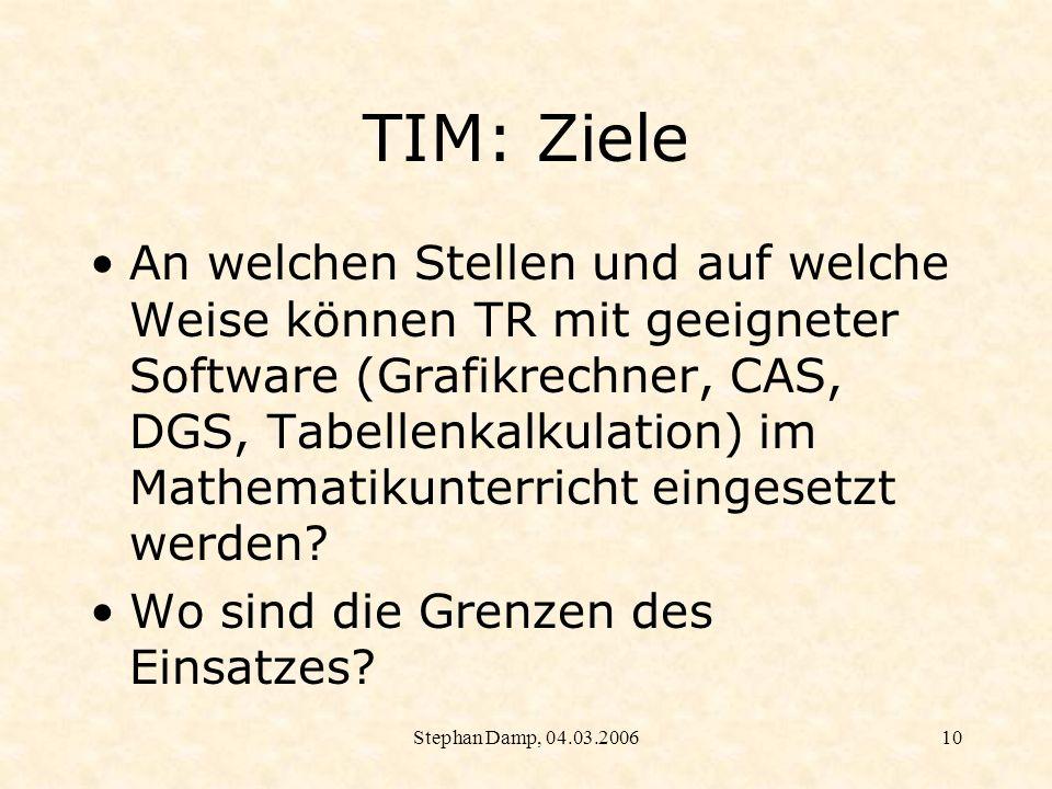 Stephan Damp, 04.03.200611 TIM: Ziele Wie beeinflusst der Einsatz des GTR Didaktik und Methodik des Mathematikunterrichts?