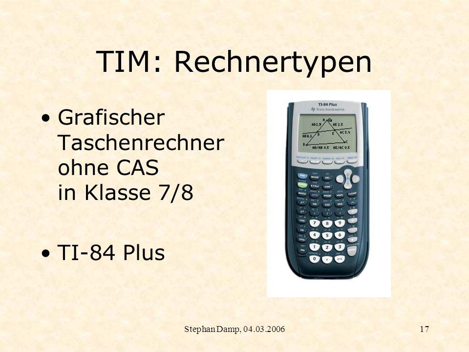 Stephan Damp, 04.03.200618 TIM: Rechnertypen Grafischer Taschenrechner mit CAS in Klasse 9/10 TI Voyage 200
