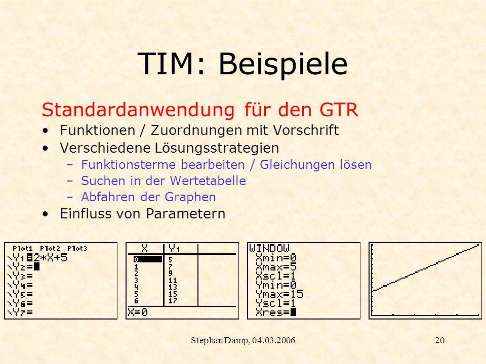 Stephan Damp, 04.03.200621 TIM: Beispiele Alternative Lösungsstrategien
