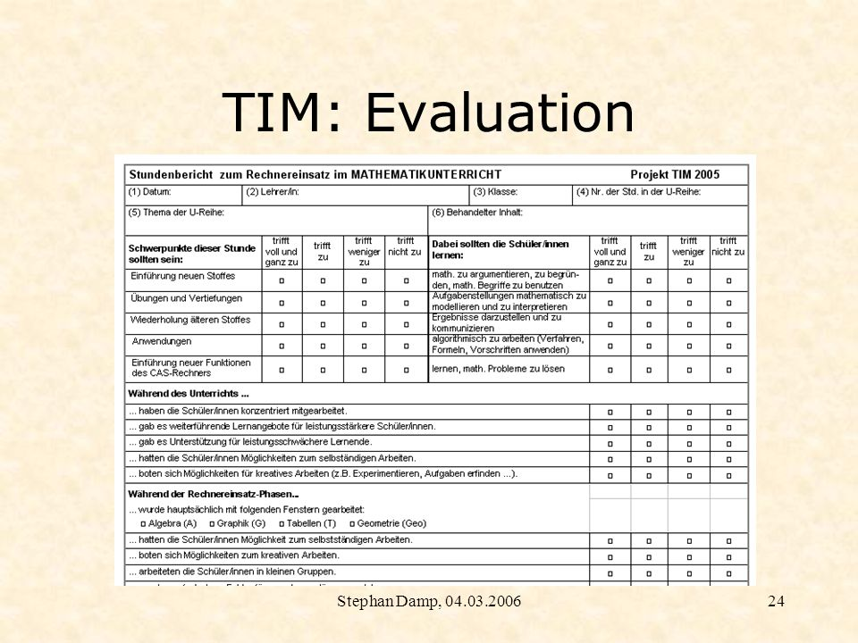 Stephan Damp, 04.03.200625 TIM: Evaluation