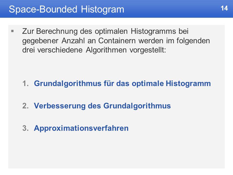 14 Space-Bounded Histogram Zur Berechnung des optimalen Histogramms bei gegebener Anzahl an Containern werden im folgenden drei verschiedene Algorithmen vorgestellt: 1.Grundalgorithmus für das optimale Histogramm 2.Verbesserung des Grundalgorithmus 3.Approximationsverfahren
