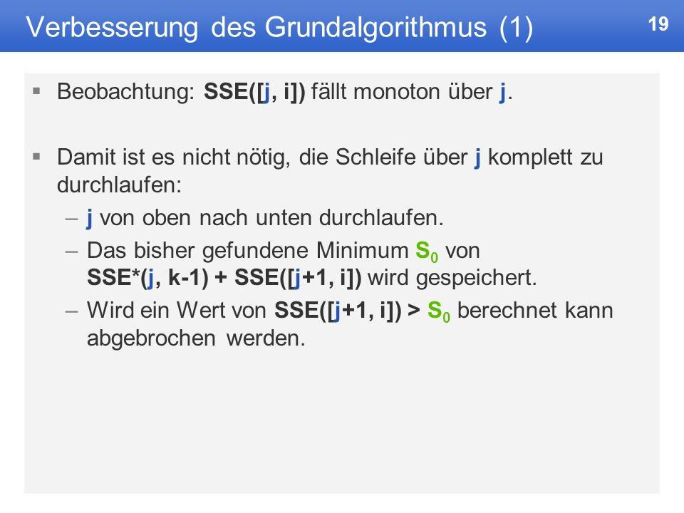19 Verbesserung des Grundalgorithmus (1) Beobachtung: SSE([j, i]) fällt monoton über j.