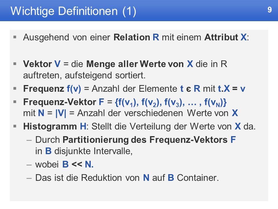 9 Wichtige Definitionen (1) Ausgehend von einer Relation R mit einem Attribut X: Vektor V = die Menge aller Werte von X die in R auftreten, aufsteigend sortiert.