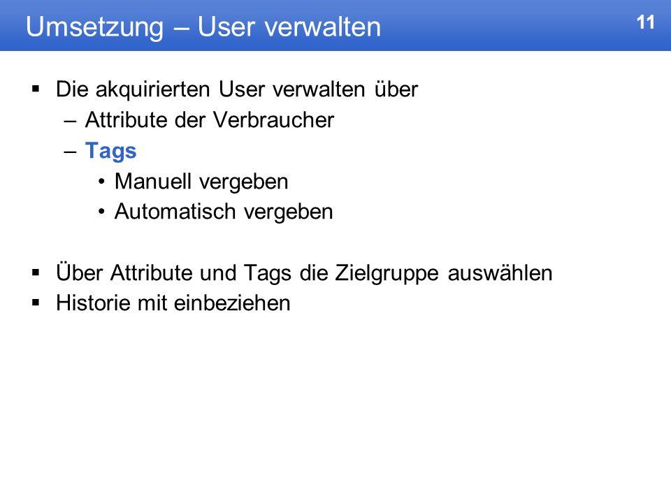 11 Umsetzung – User verwalten Die akquirierten User verwalten über –Attribute der Verbraucher –Tags Manuell vergeben Automatisch vergeben Über Attribu