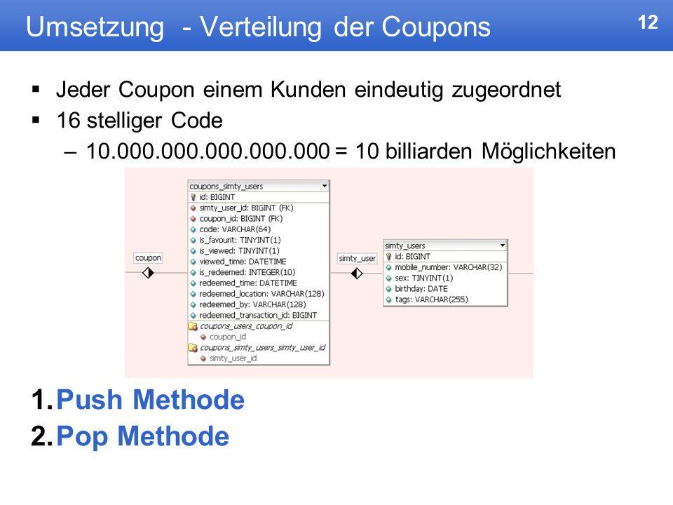 12 Umsetzung - Verteilung der Coupons Jeder Coupon einem Kunden eindeutig zugeordnet 16 stelliger Code –10.000.000.000.000.000 = 10 billiarden Möglich