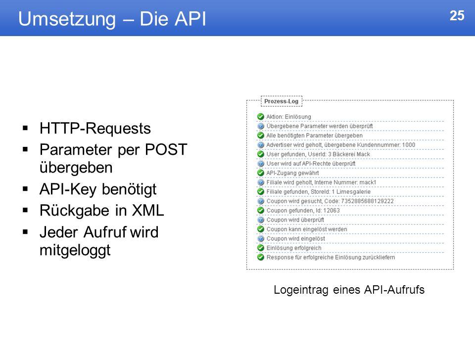 25 Umsetzung – Die API HTTP-Requests Parameter per POST übergeben API-Key benötigt Rückgabe in XML Jeder Aufruf wird mitgeloggt Logeintrag eines API-A