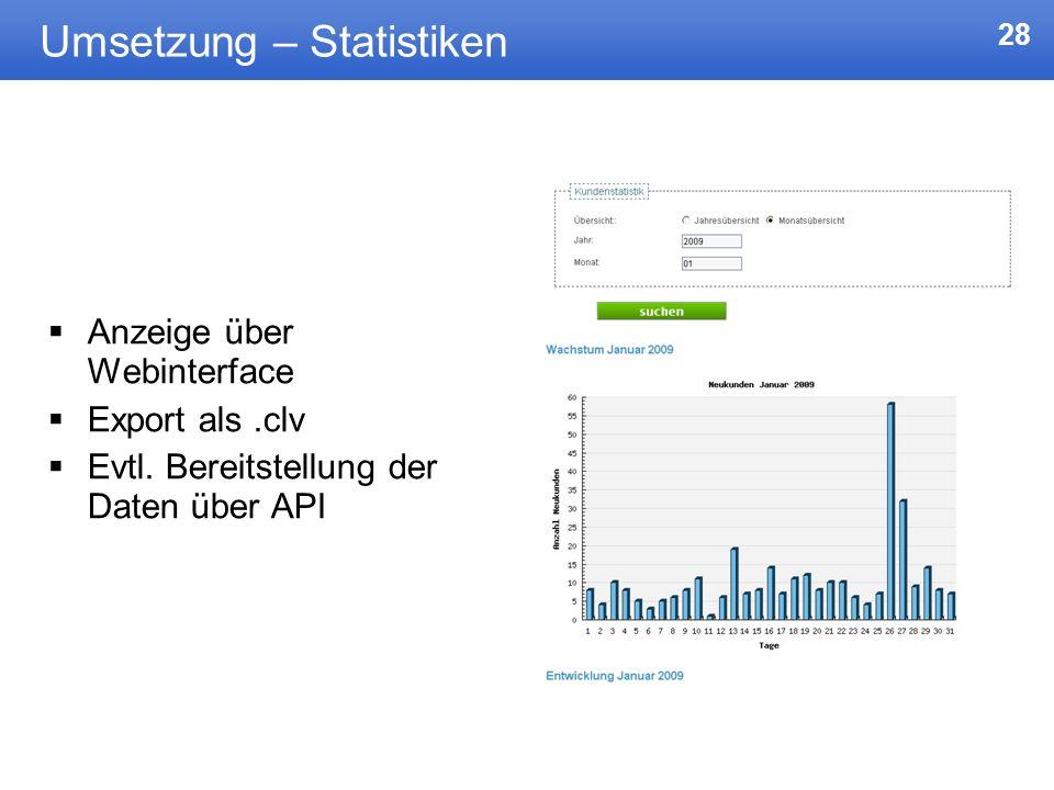 28 Umsetzung – Statistiken Anzeige über Webinterface Export als.clv Evtl. Bereitstellung der Daten über API
