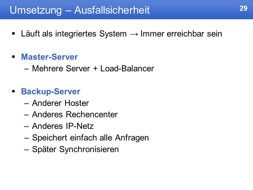 29 Umsetzung – Ausfallsicherheit Läuft als integriertes System Immer erreichbar sein Master-Server –Mehrere Server + Load-Balancer Backup-Server –Ande