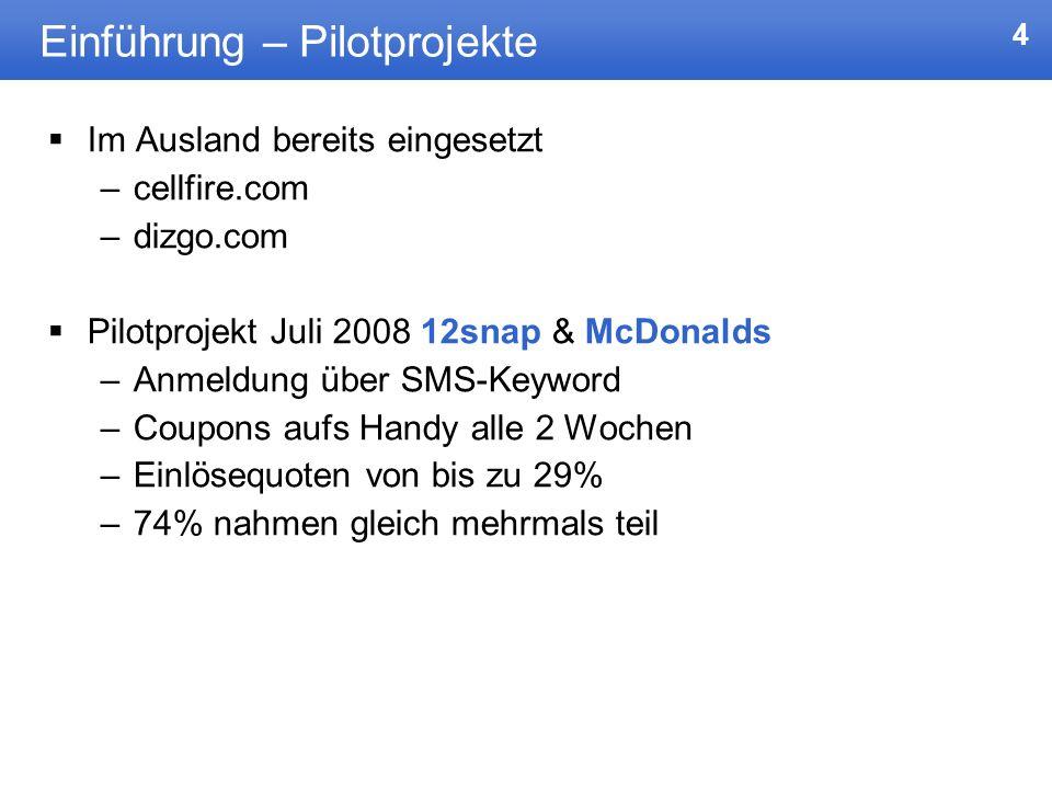 4 Einführung – Pilotprojekte Im Ausland bereits eingesetzt –cellfire.com –dizgo.com Pilotprojekt Juli 2008 12snap & McDonalds –Anmeldung über SMS-Keyw
