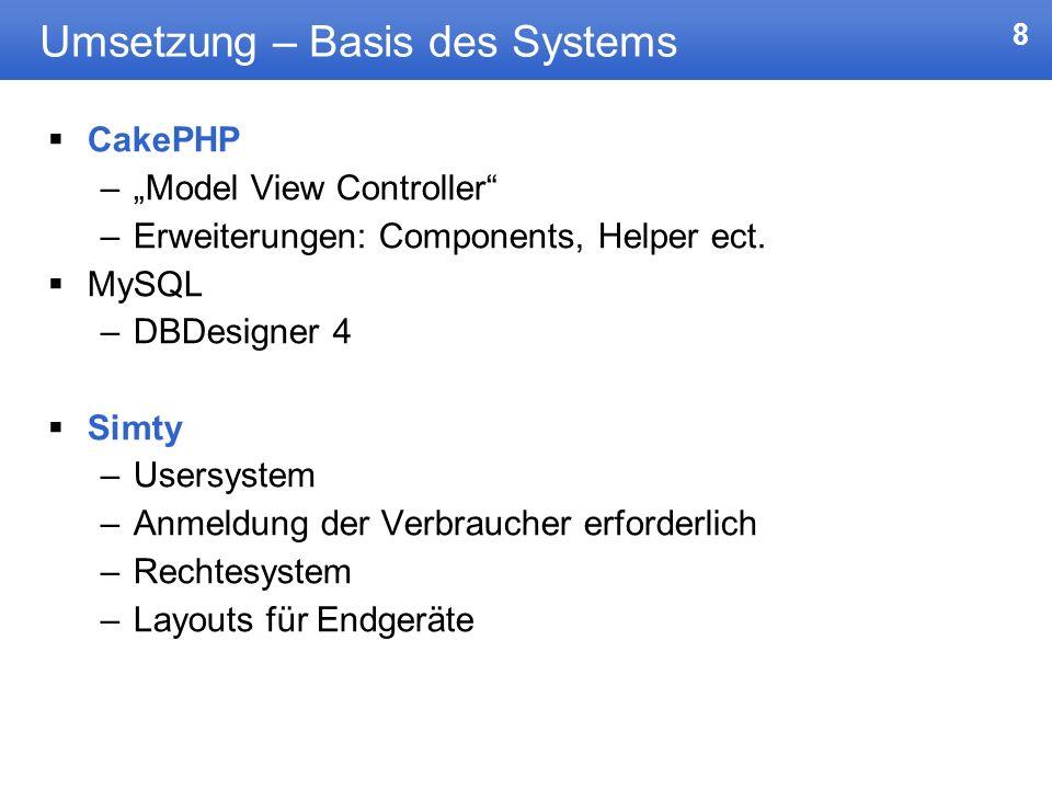8 Umsetzung – Basis des Systems CakePHP –Model View Controller –Erweiterungen: Components, Helper ect. MySQL –DBDesigner 4 Simty –Usersystem –Anmeldun