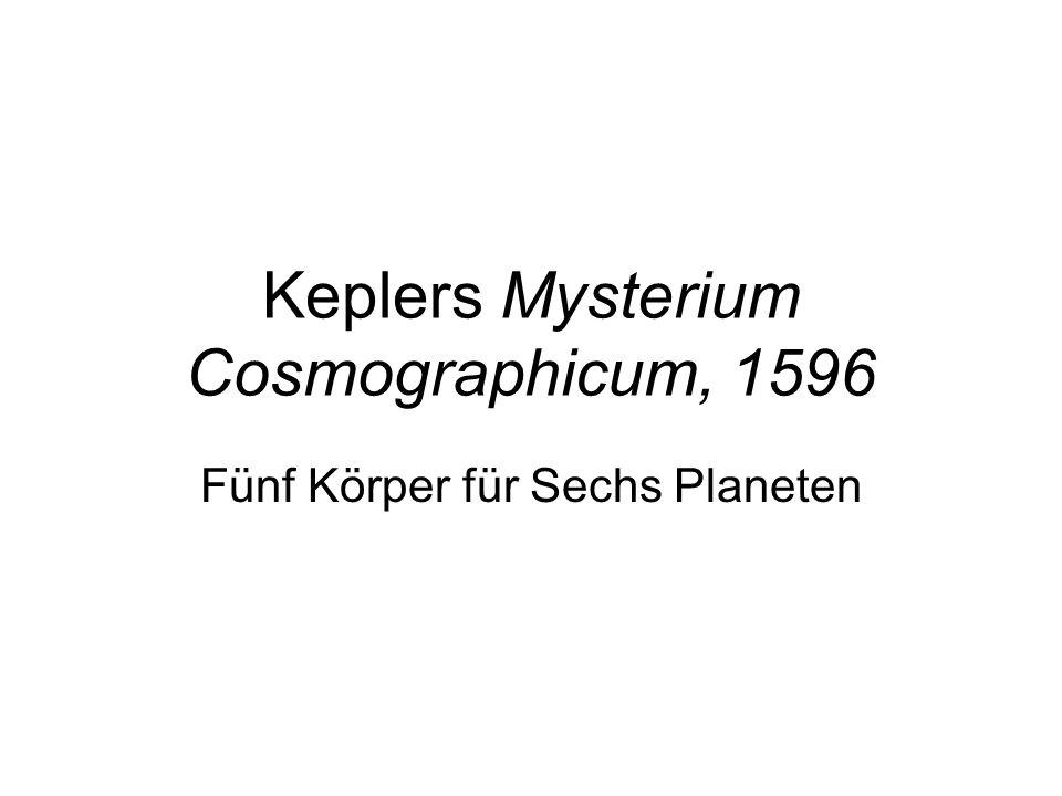 Keplers Mysterium Cosmographicum, 1596 Fünf Körper für Sechs Planeten