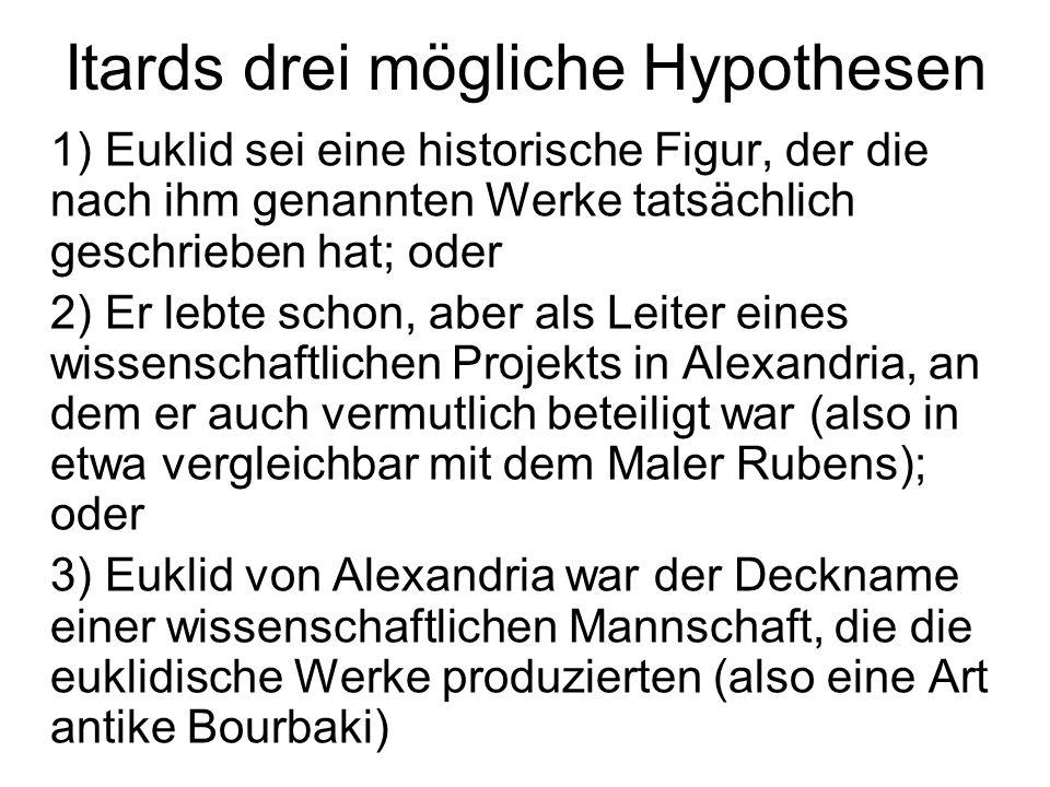 Itards drei mögliche Hypothesen 1) Euklid sei eine historische Figur, der die nach ihm genannten Werke tatsächlich geschrieben hat; oder 2) Er lebte s