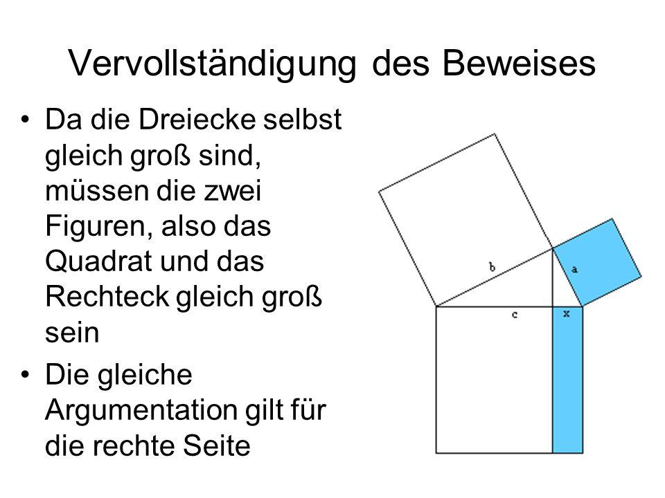 Vervollständigung des Beweises Da die Dreiecke selbst gleich groß sind, müssen die zwei Figuren, also das Quadrat und das Rechteck gleich groß sein Di