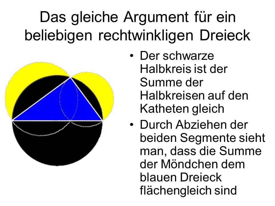 Das gleiche Argument für ein beliebigen rechtwinkligen Dreieck Der schwarze Halbkreis ist der Summe der Halbkreisen auf den Katheten gleich Durch Abzi
