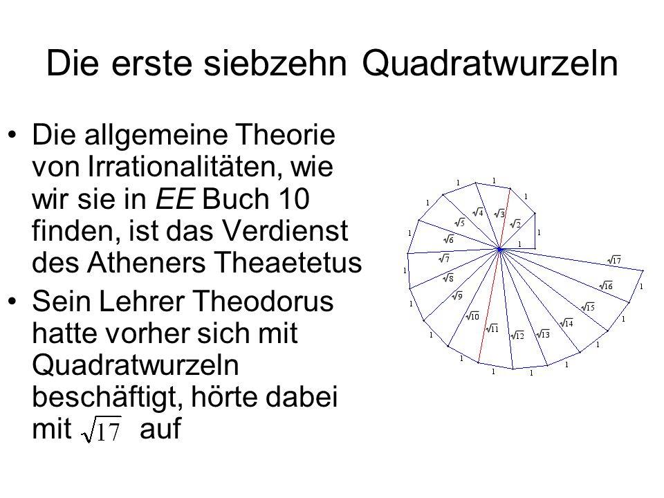 Die erste siebzehn Quadratwurzeln Die allgemeine Theorie von Irrationalitäten, wie wir sie in EE Buch 10 finden, ist das Verdienst des Atheners Theaet