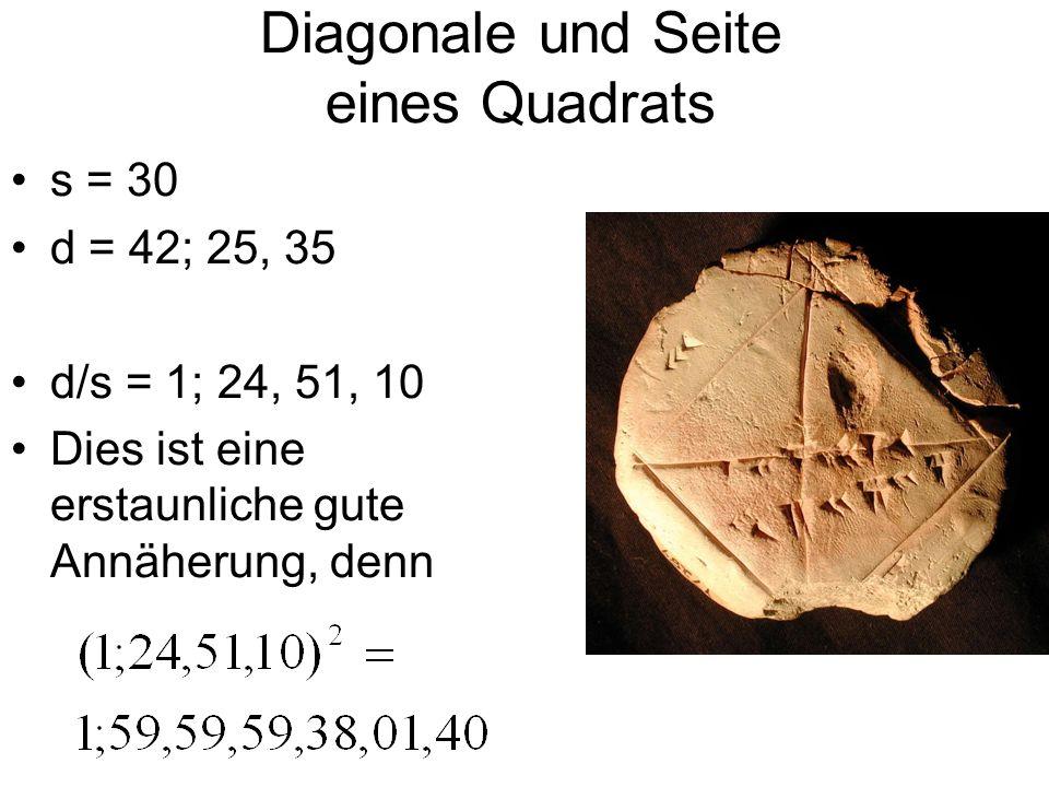 Diagonale und Seite eines Quadrats s = 30 d = 42; 25, 35 d/s = 1; 24, 51, 10 Dies ist eine erstaunliche gute Annäherung, denn