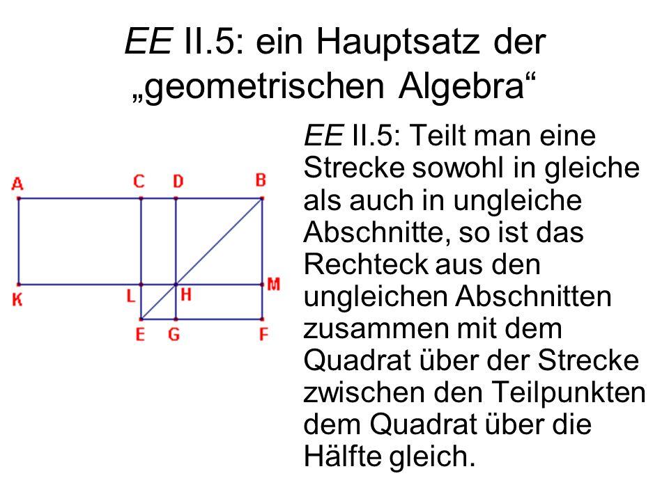 EE II.5: ein Hauptsatz der geometrischen Algebra EE II.5: Teilt man eine Strecke sowohl in gleiche als auch in ungleiche Abschnitte, so ist das Rechte