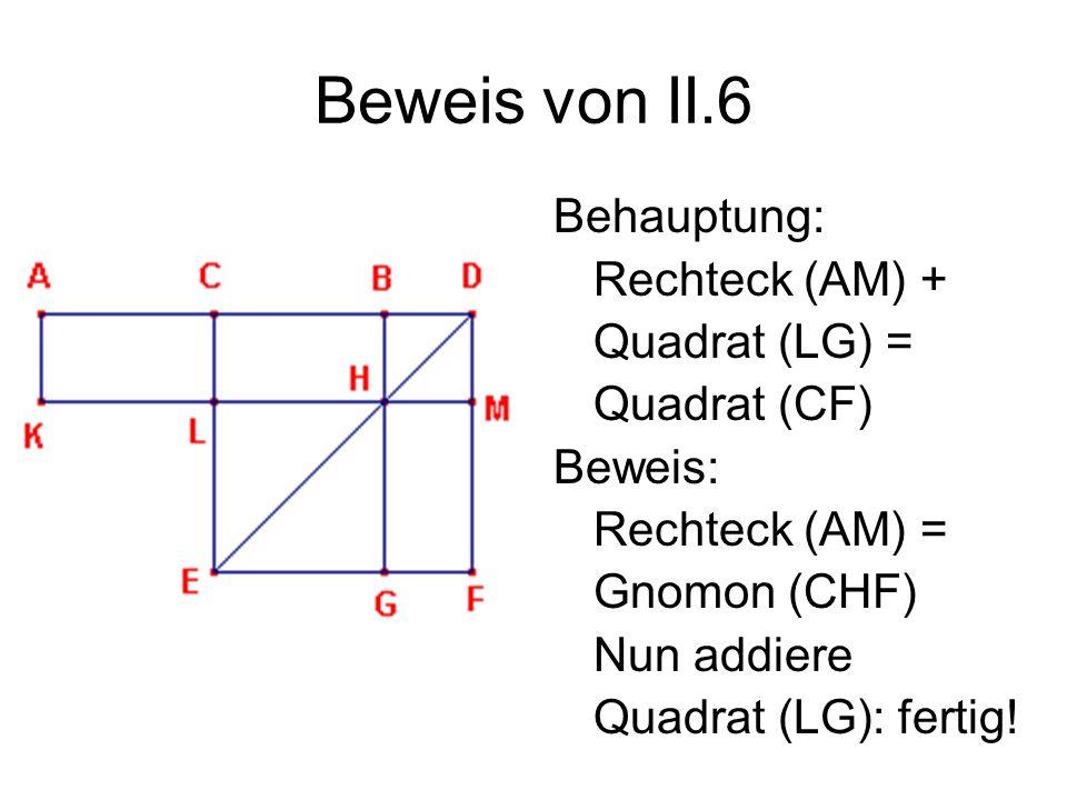 Beweis von II.6 Behauptung: Rechteck (AM) + Quadrat (LG) = Quadrat (CF) Beweis: Rechteck (AM) = Gnomon (CHF) Nun addiere Quadrat (LG): fertig!