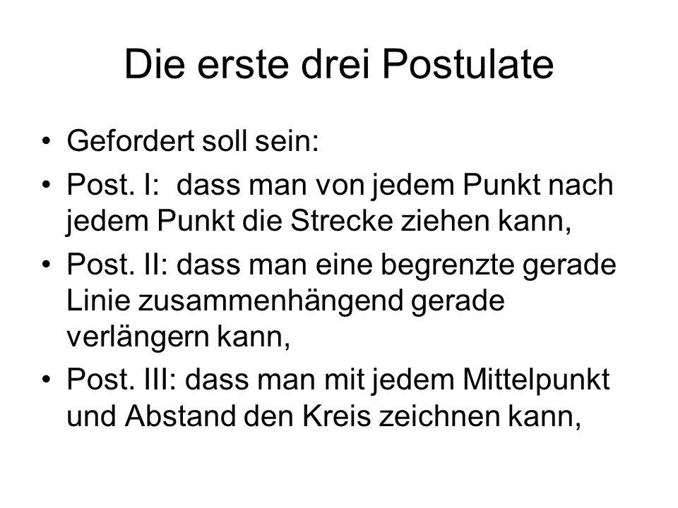 Die erste drei Postulate Gefordert soll sein: Post. I: dass man von jedem Punkt nach jedem Punkt die Strecke ziehen kann, Post. II: dass man eine begr