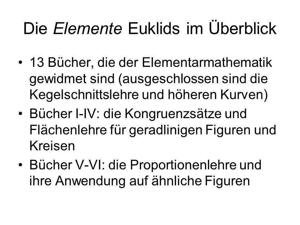 Die Elemente Euklids im Überblick 13 Bücher, die der Elementarmathematik gewidmet sind (ausgeschlossen sind die Kegelschnittslehre und höheren Kurven)
