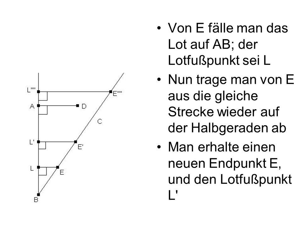 Von E fälle man das Lot auf AB; der Lotfußpunkt sei L Nun trage man von E aus die gleiche Strecke wieder auf der Halbgeraden ab Man erhalte einen neue