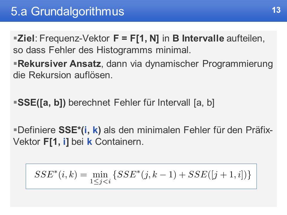 12 5. Lösungsmethode: dynamische Programmierung Fibonacci-Zahlen iterativ via dynamischer Programmierung: f_vorletzte = 0 f_letzte = 1 for i = 2 to n