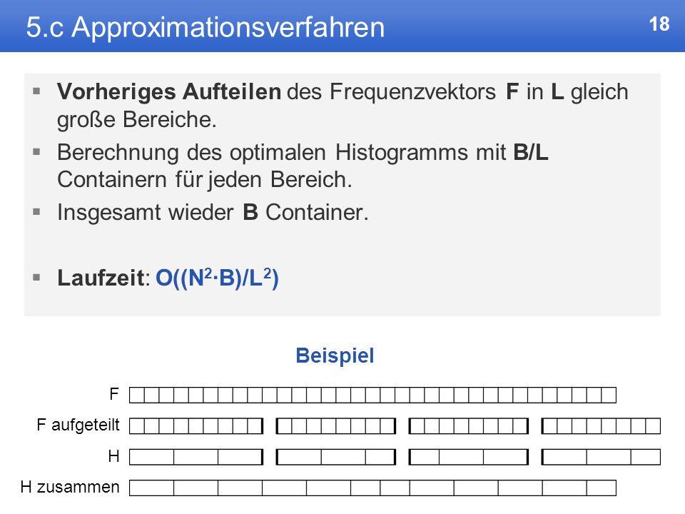 17 5.b Verbesserung des Grundalgorithmus Weitere Beobachtung: SSE*(j, k) wächst monoton über j. Finden einer untere Grenze für j über binäre Suche. Nä