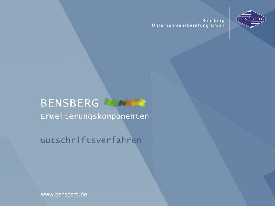 Bensberg GmbHGutschriftsverfahren Detailanzeige einer Gutschriftsanzeige eventuelle Differenzen gefundene Rechnungen kumulierte Kunden-Daten Gegenüberstellung der kumulierten Daten der Gutschriftsanzeige zum eigenen Belegfluss mit Differenz je Lieferung
