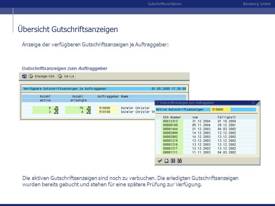 Bensberg GmbHGutschriftsverfahren Übersicht Gutschriftsanzeigen Anzeige der verfügbaren Gutschriftsanzeigen je Auftraggeber: Die aktiven Gutschriftsan