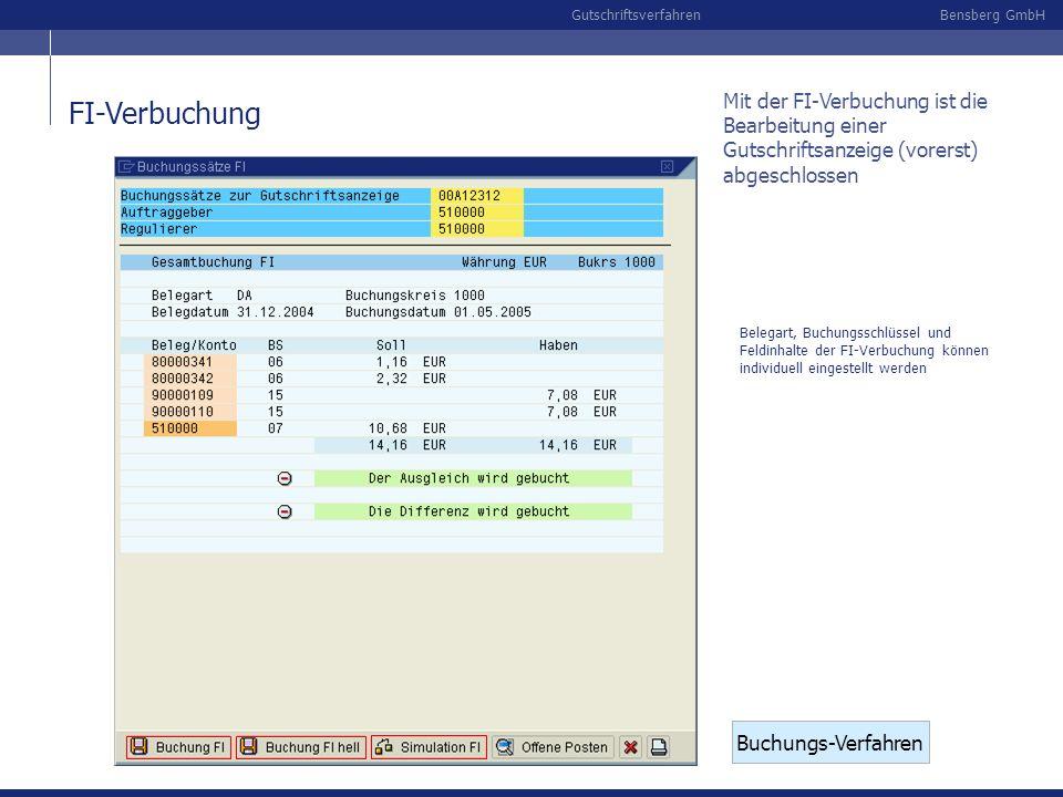 Bensberg GmbHGutschriftsverfahren FI-Verbuchung Buchungs-Verfahren Belegart, Buchungsschlüssel und Feldinhalte der FI-Verbuchung können individuell ei