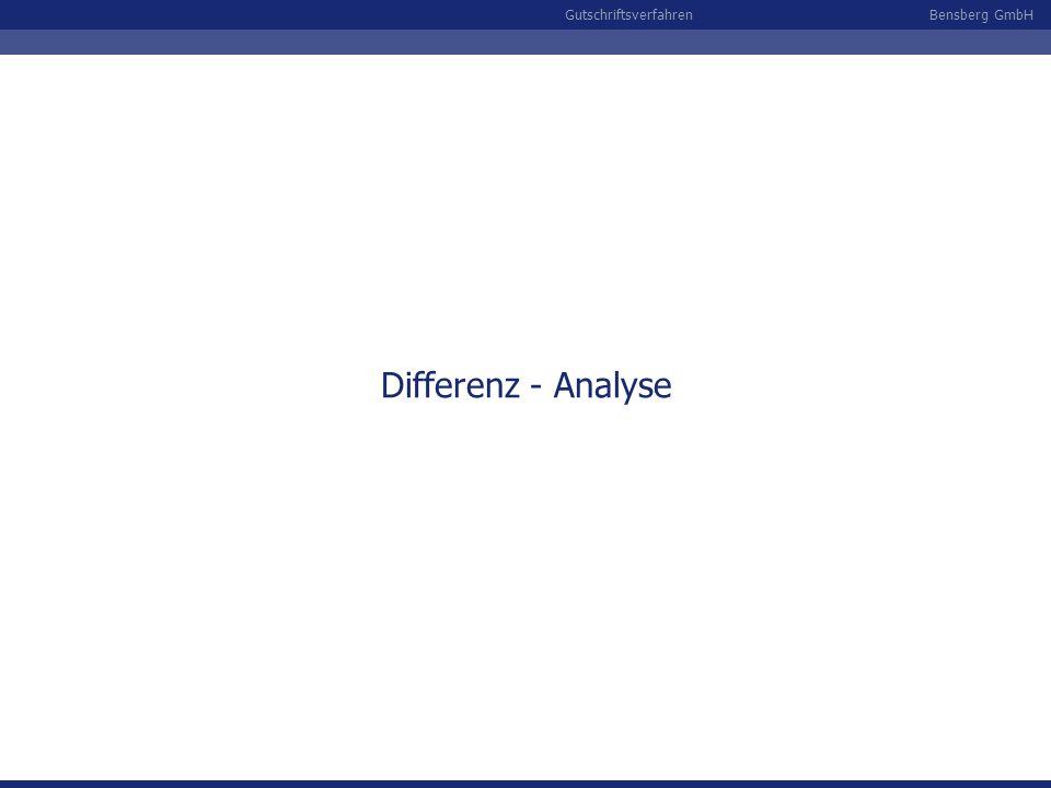 Bensberg GmbHGutschriftsverfahren Differenz - Analyse