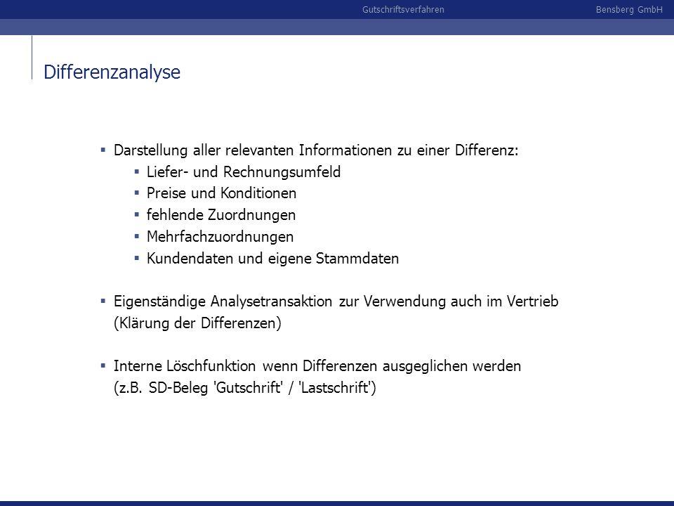 Bensberg GmbHGutschriftsverfahren Differenzanalyse Darstellung aller relevanten Informationen zu einer Differenz: Liefer- und Rechnungsumfeld Preise u