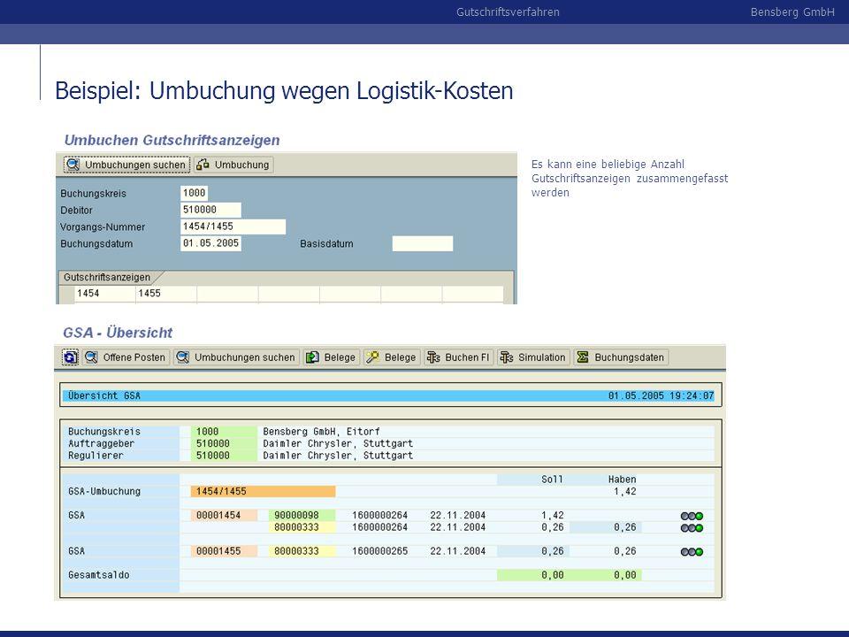 Bensberg GmbHGutschriftsverfahren Beispiel: Umbuchung wegen Logistik-Kosten Es kann eine beliebige Anzahl Gutschriftsanzeigen zusammengefasst werden