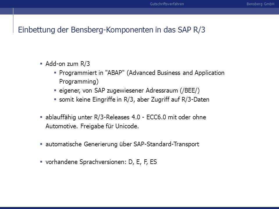 Bensberg GmbHGutschriftsverfahren Einbettung der Bensberg-Komponenten in das SAP R/3 Add-on zum R/3 Programmiert in