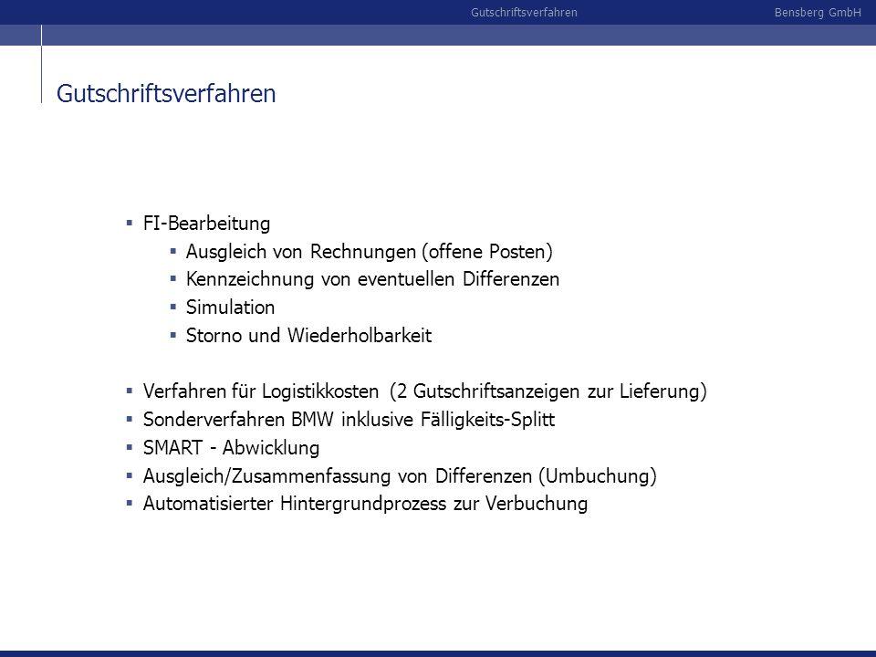 Bensberg GmbHGutschriftsverfahren FI-Bearbeitung Ausgleich von Rechnungen (offene Posten) Kennzeichnung von eventuellen Differenzen Simulation Storno