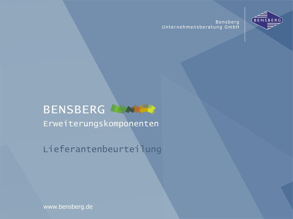 Bensberg GmbHLieferantenbeurteilung Bewertung von WE-Positionen nach Zeit / Mengen WE-Positionen Ausgangspunkt: Wareneingangs-Buchung im SAP-R/3 Speicherung Umfelddaten beim Wareneingang Bewertung asynchron nach VDA 5001 und Prozent flexible Einstellmöglichkeiten von Bewertungsparametern z.B.