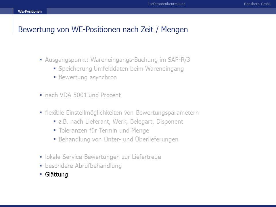Bensberg GmbHLieferantenbeurteilung Bewertung von WE-Positionen nach Zeit / Mengen WE-Positionen Ausgangspunkt: Wareneingangs-Buchung im SAP-R/3 Speic
