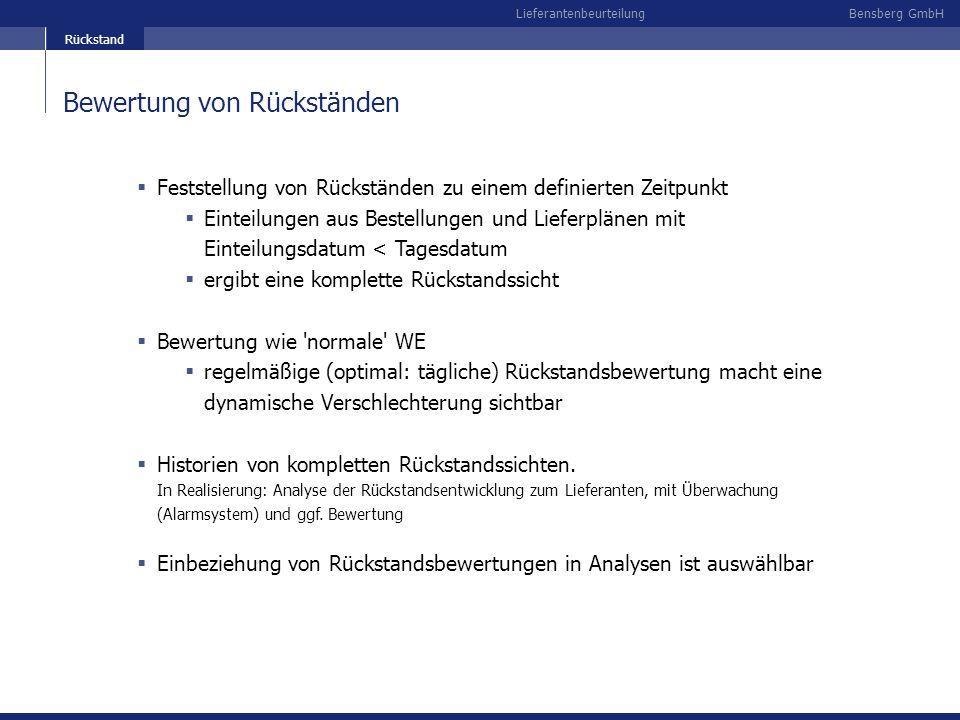 Bensberg GmbHLieferantenbeurteilung Bewertung von Rückständen Feststellung von Rückständen zu einem definierten Zeitpunkt Einteilungen aus Bestellunge