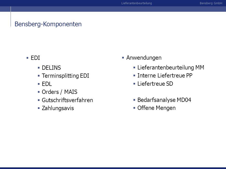 Bensberg GmbHLieferantenbeurteilung Datenexport für externe Systeme wie z.B.