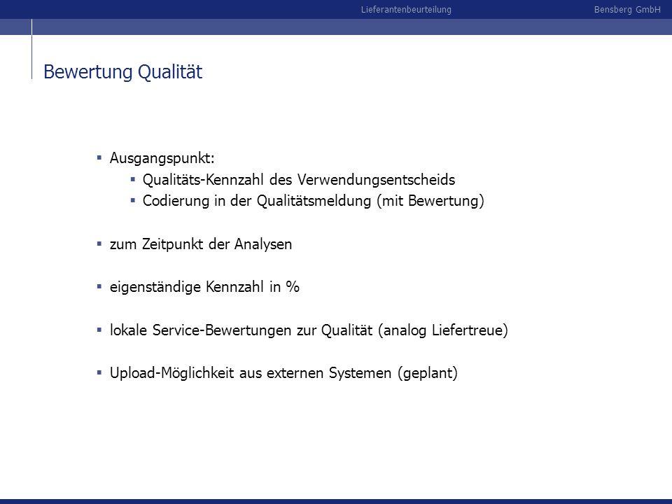 Bensberg GmbHLieferantenbeurteilung Bewertung Qualität Ausgangspunkt: Qualitäts-Kennzahl des Verwendungsentscheids Codierung in der Qualitätsmeldung (