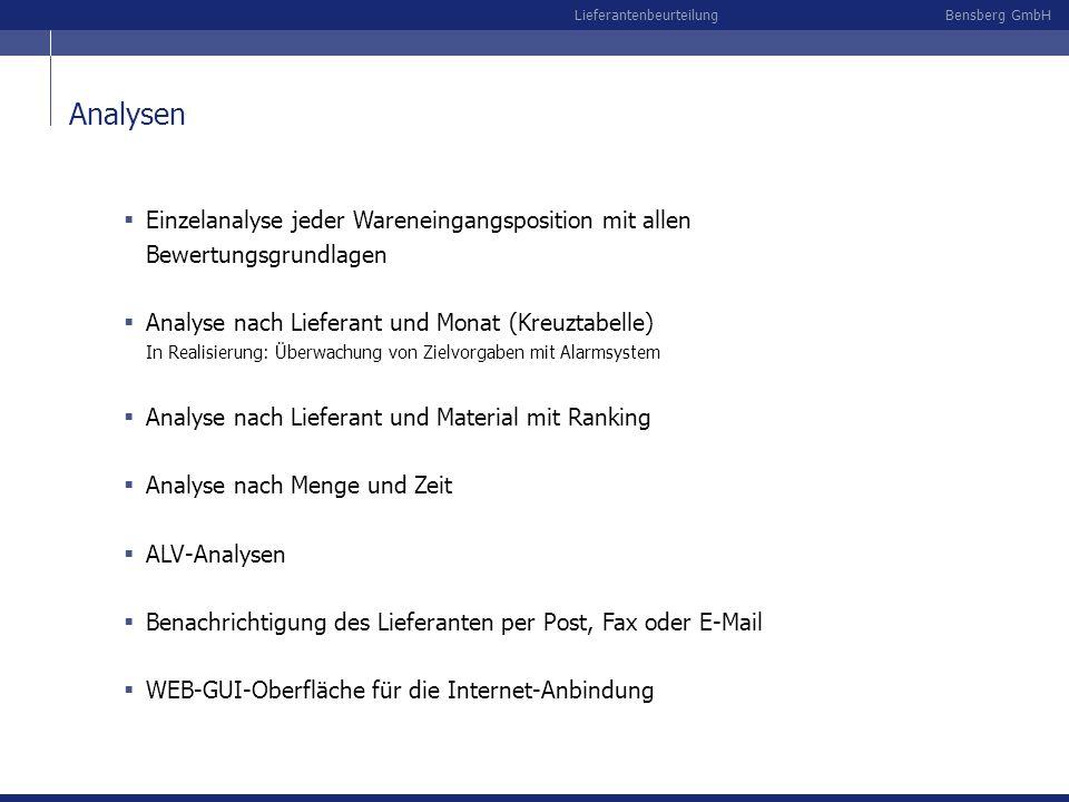 Bensberg GmbHLieferantenbeurteilung Analysen Einzelanalyse jeder Wareneingangsposition mit allen Bewertungsgrundlagen Analyse nach Lieferant und Monat