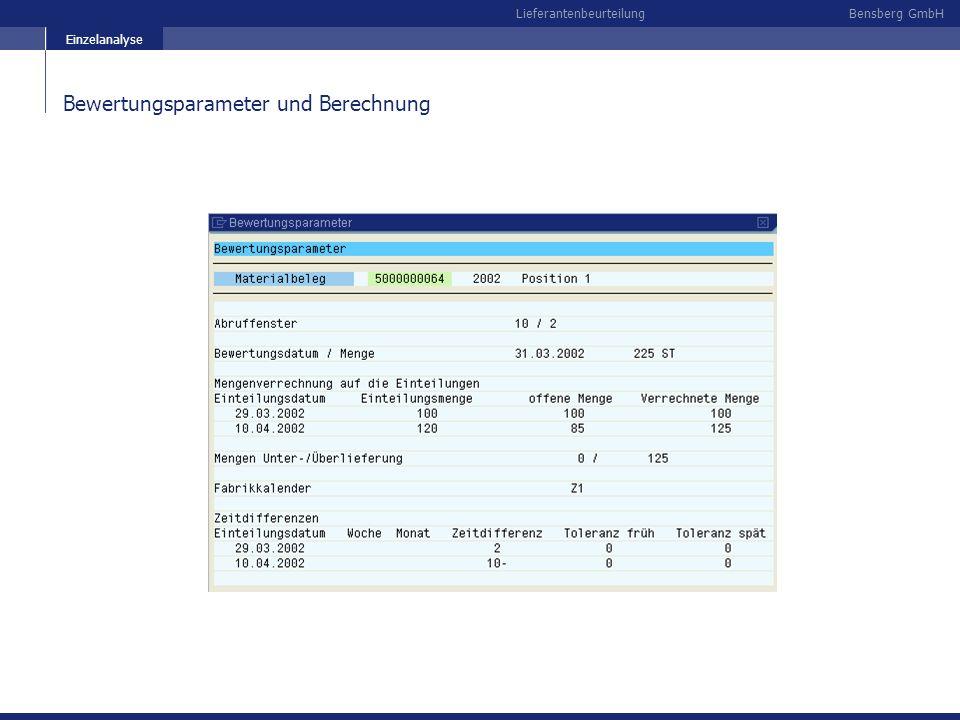 Bensberg GmbHLieferantenbeurteilung Bewertungsparameter und Berechnung Einzelanalyse