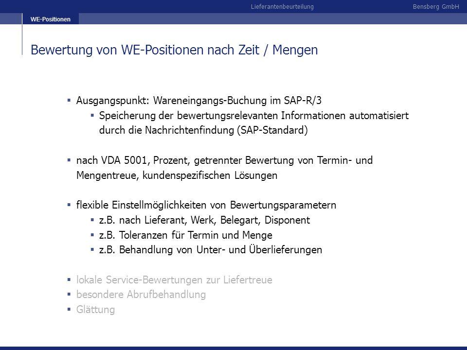 Bensberg GmbHLieferantenbeurteilung Bewertung von WE-Positionen nach Zeit / Mengen Ausgangspunkt: Wareneingangs-Buchung im SAP-R/3 Speicherung der bew