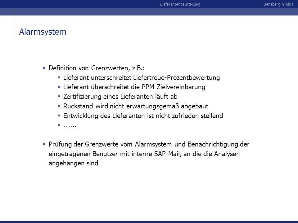 Bensberg GmbHLieferantenbeurteilung Alarmsystem Definition von Grenzwerten, z.B.: Lieferant unterschreitet Liefertreue-Prozentbewertung Lieferant über