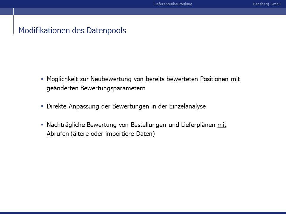 Bensberg GmbHLieferantenbeurteilung Modifikationen des Datenpools Möglichkeit zur Neubewertung von bereits bewerteten Positionen mit geänderten Bewert